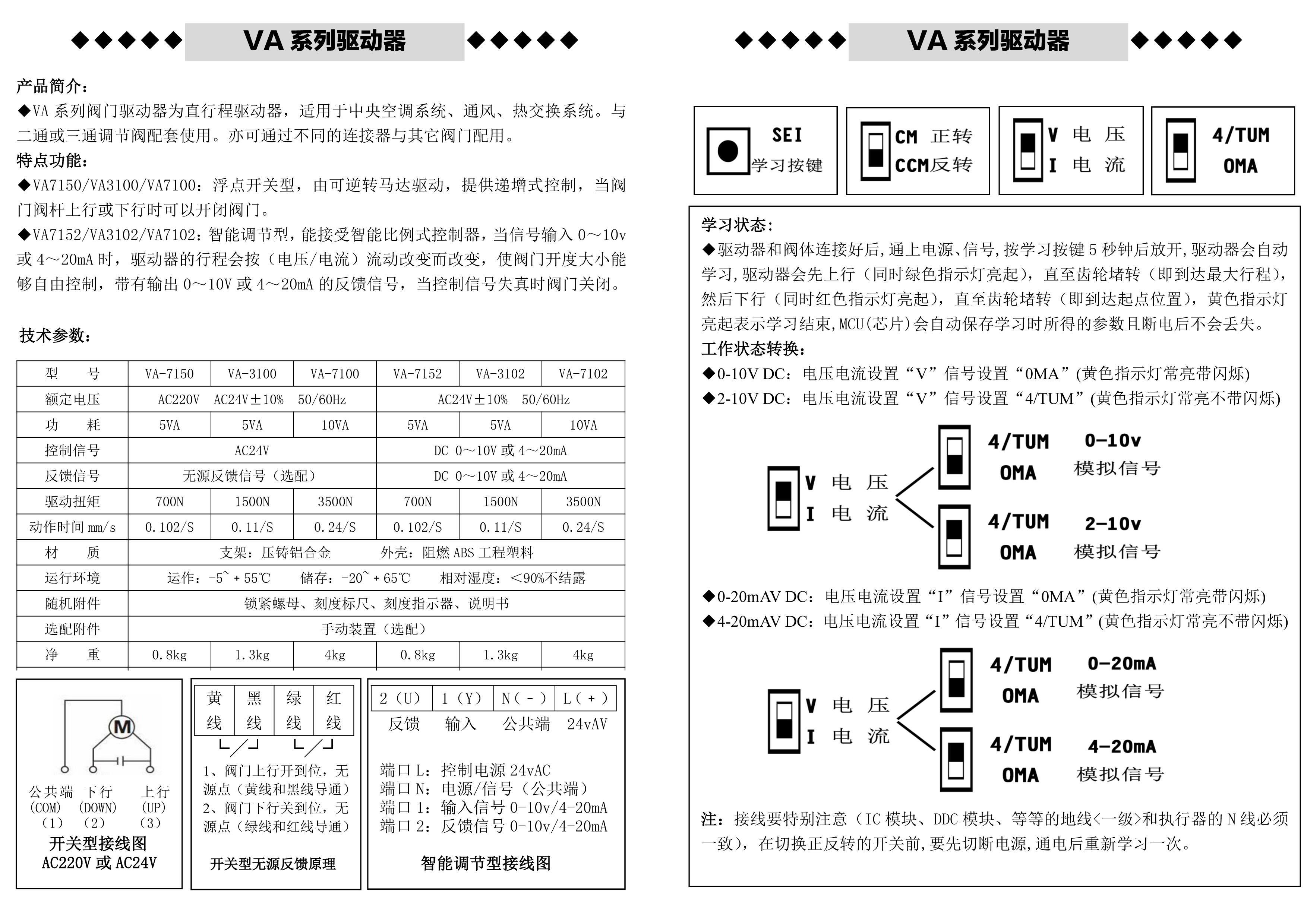 va系列比例积分调节阀接线图
